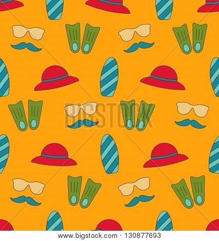 Illustration Colorful Old Seamless Texture with Summer Beach Objects - Vector