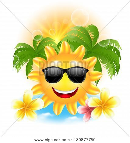 Illustration Summer Funny Background with Happy Smiling Sun, Palms, Flowers Frangipani - Vector
