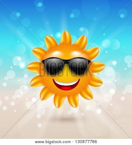 Illustration Abstract Hello Summer Background with Cheerful Summer Sun in Sunglasses - Vector