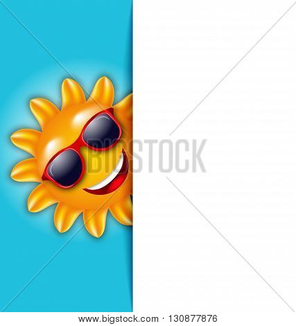Illustration Clean Card with Cartoon Character Sun in Sunglasses - Vector