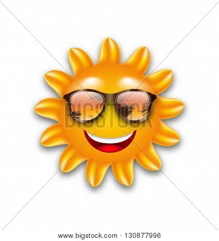 Illustration Concept of Funny Sun with Sunglasses, Isolated on White Background - Vector