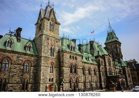 Ottawa Canada - May 21 2016: Parliament Hill in Canadian capital Ottawa a day before Queen Victoria day.East block facade.