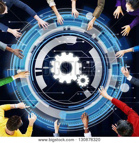 Technology Digital Network Cog Teamwork Concept
