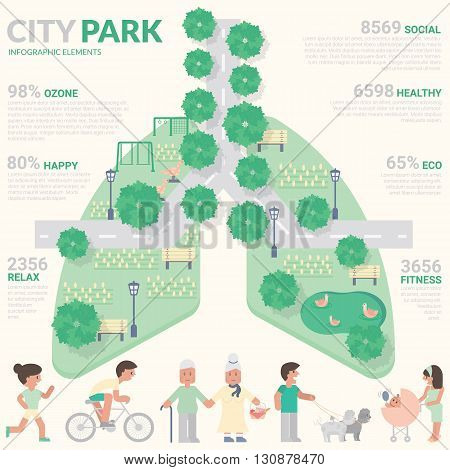 City park urban lifestyle healthy concept infographic element flat design. Wellness lifestyle Urban social Green landscape Playground for kids and garden for picnic.