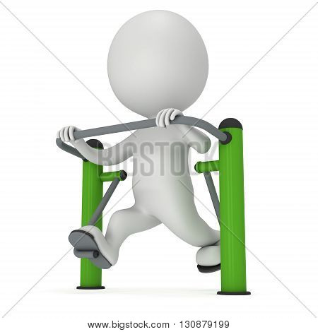 Active 3D man exercising on outdoor fitness trainer machine. Fit sporty man working out at outdoor gym. Sport fitness and healthy lifestyle concept. 3D render isolated on white.