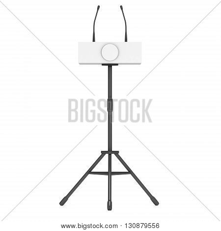 3d Speaker Podium on Tripod. White Tribune Rostrum Stand with Microphones. 3d render isolated on white background. Debate press conference concept