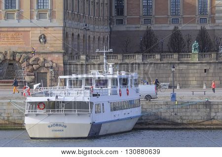 Stockholm, Sweden - March, 16, 2016: passenger ship in Stockholm, Sweden