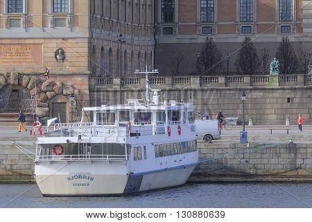 Stockholm, Sweden - March, 16, 2016: passenger ship in Stockholm, Sweden