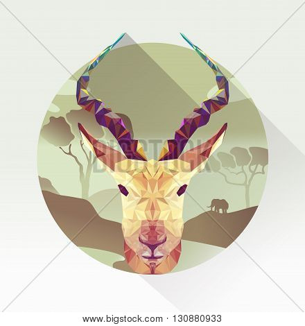 Vector springbok in polygon design. Antelope head in a landscape of africa. Triangle illustration animal. Geometric springbok low poly style. Flat gazelle icon.