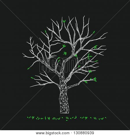 Vector geometric tree on black background. Tree low poly style. Abstract polygonal tree with falling leaves. Tree illustration in flat design.
