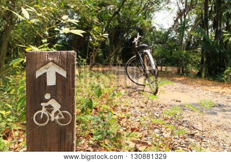 Bicycle Sign, Bicycle Lane In Public Park
