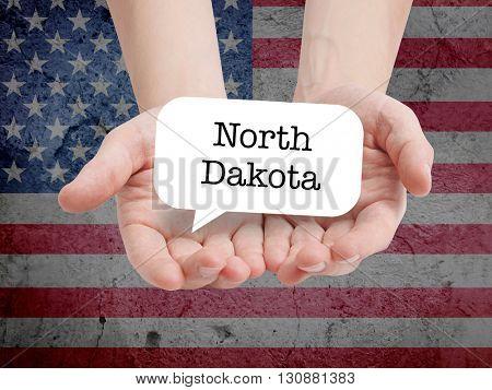 North Dakota written in a speechbubble