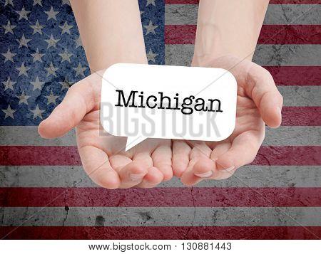 Michigan written in a speechbubble
