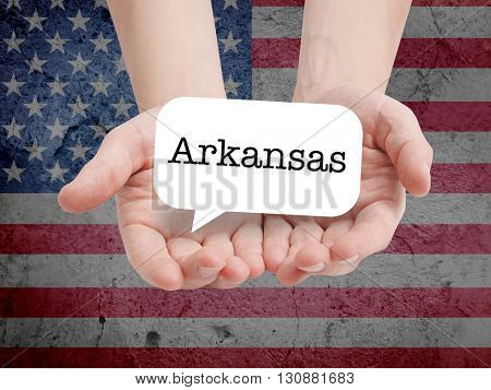 Arkansas written in a speechbubble