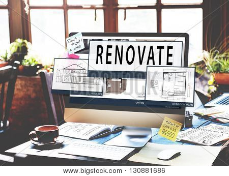 Plan Renovate Architecture Blueprint Drawing Concept