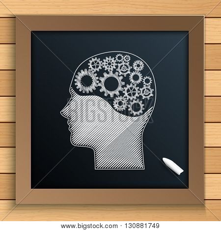 Vector illustration of Human brain mechanism with cogs and gears written by chalk on blackboard