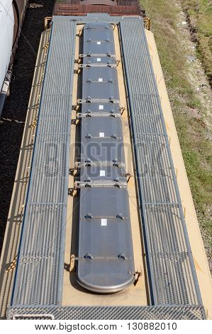 Detail overhead view of grain car including hatches and walkway