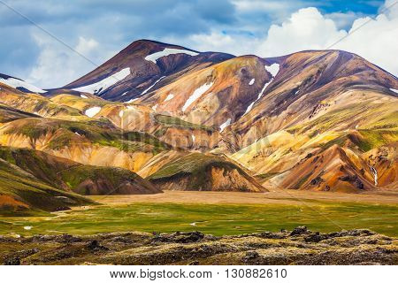 National Park Landmannalaugar. On the gentle slopes of the mountains are snow fields and glaciers. Magnificent Iceland in the July