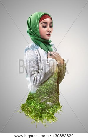 Image Of Double Exposure Muslim Woman