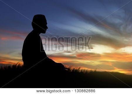 Image Of Silhouette Man Praying