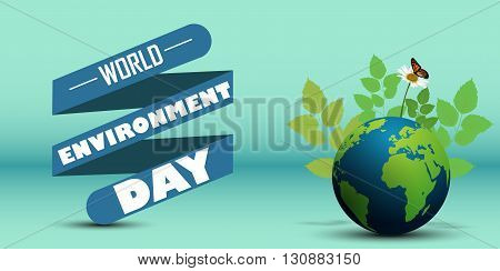 Vector illustration of Ribbon shape with leaves and butterflies on earth for world environment day
