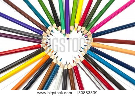 colour, concept colorful pencils isolated on white
