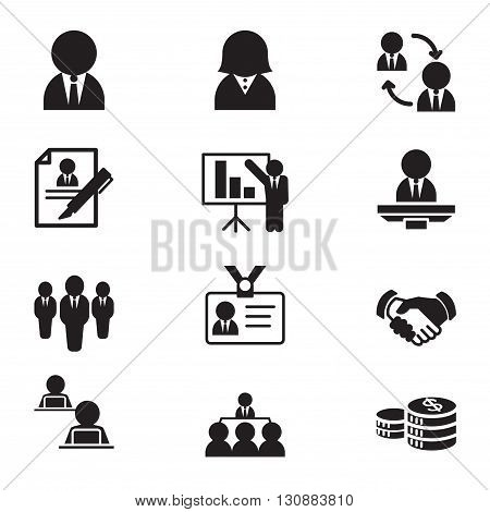 Silhouette human resource & staff management icons set illustration Vector
