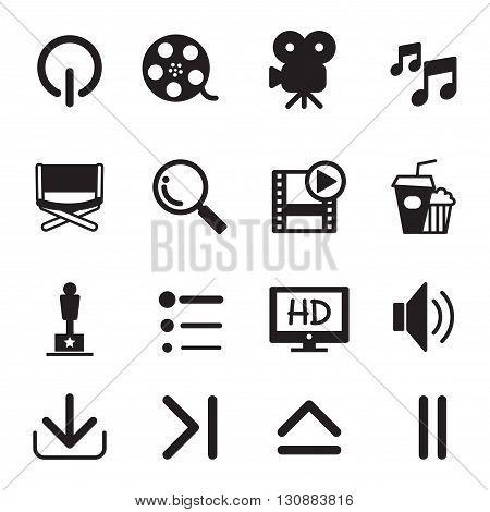 Movie icons set graphic design concept symbol