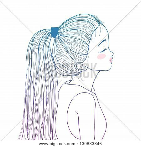 Hand drawn style gradient ponytail cute girl illustration
