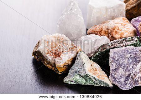 Heap Of Minerals On Wood Macro