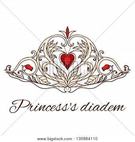 Hand-drawn princess tiara. Queen Crown. Doodle elements for your design.