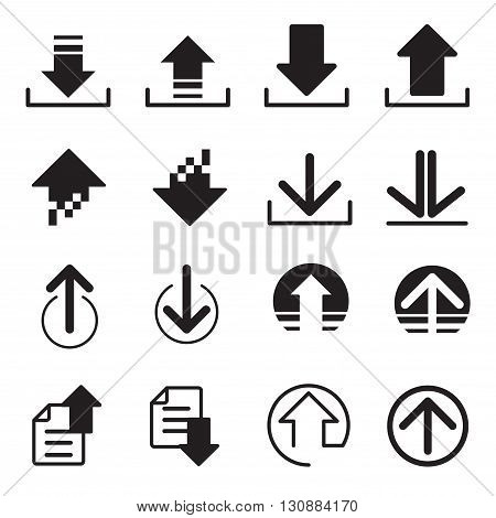Upload Download icons set graphic design symbol