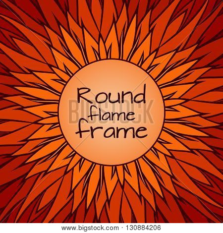 Template cover with doodle flames and a round frame for text. Vector template for cards greeting cards posters and your design
