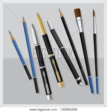 Set Realistic 3D Pen and Pencil and Business Pen and Paintbrush and Drawing Pencil and Clutch-type pencil