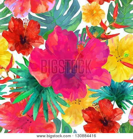 Seamless floral background. Tropical colorful pattern. Isolated beautiful flowers and leaves drawn watercolor on beige background. Vector illustration.