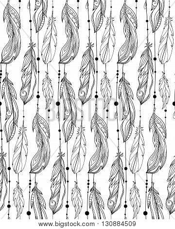 Seamless black and white pattern of hand drawn feathers with boho pattern. Tribal doodle background. Vector element for your creativity.