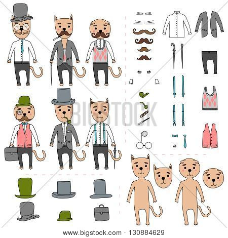 Hand Drawn vector Illustration. Gentleman cats in hipster accessories. Elements for selection. Mustache, glasses, hat, cigar, cane, umbrella, bag, suit, shirt, jacket, trousers.
