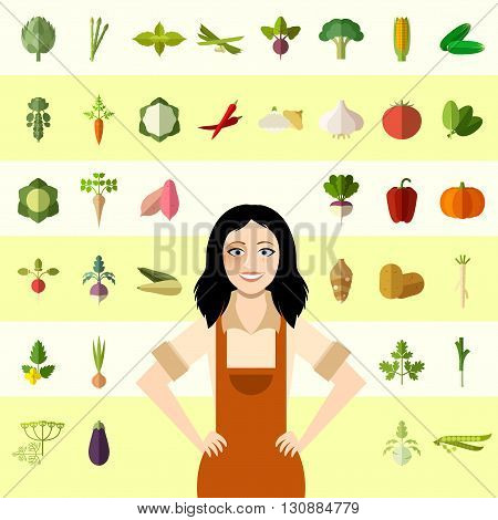 Vecctor image of the Set of vegetable icons and a gardener woman