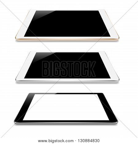 mock up tablet perspective angle isolated on white vector design