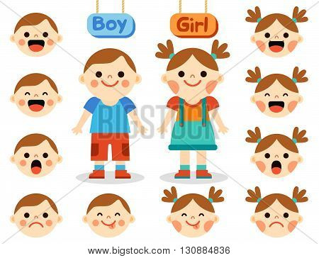 Cartoon boy and girl characters standing and smiling with collection of face emotions isolated on white