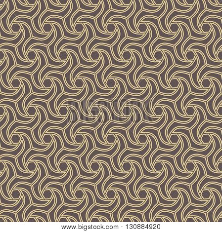 Seamless brown and golden ornament. Modern stylish geometric pattern with repeating elements