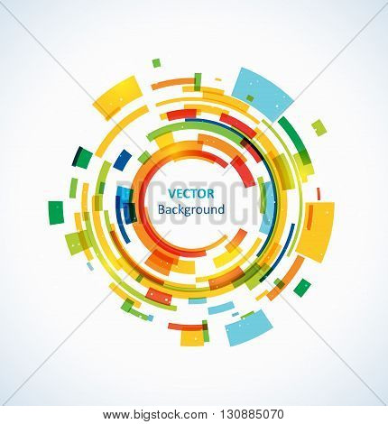 Abstract bright technology circles vector light background