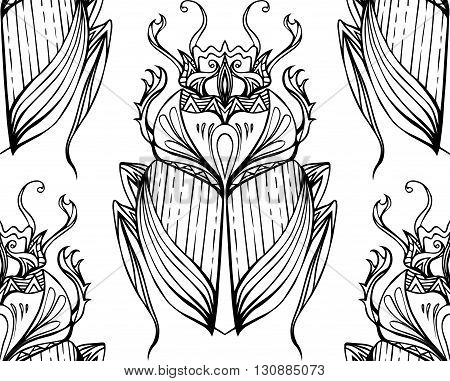 Seamless black and white pattern with hand drawn tribal scarab. Vector background with doodle pattern for your design