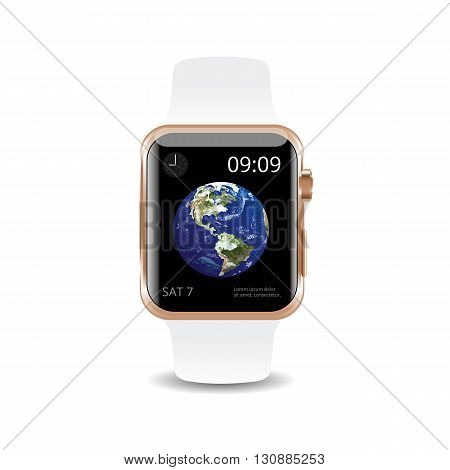 Vector Illustration Smart Watch White Earth Background