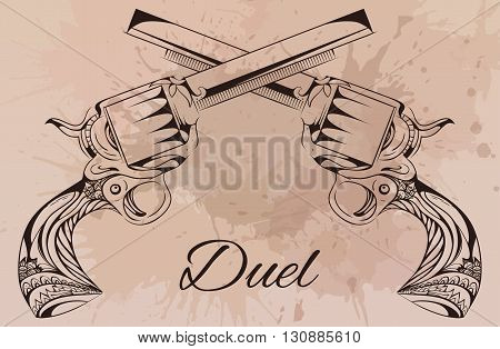 Vector vintage illustration of two revolvers. Design tattoo, postcard.