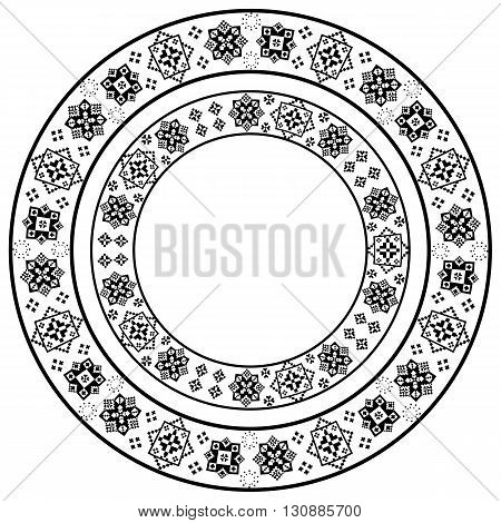 Set of black and white round frame with stylized ethnic embroidery. Vector element for design of cards invitations banners and your creativity