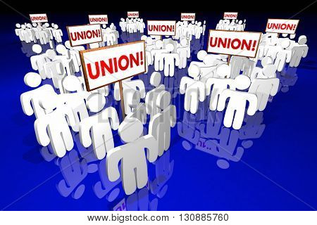Union Workers People Meeting Signs 3d Animation