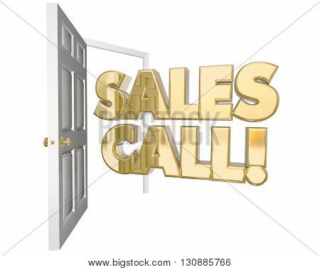 Sales Call Visit Presentation Open Door Words 3d Animation
