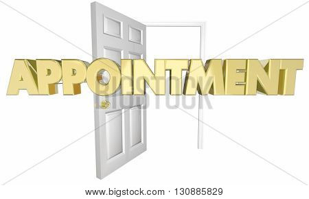 Appointment Meeting Opening Door Word 3d Illustration