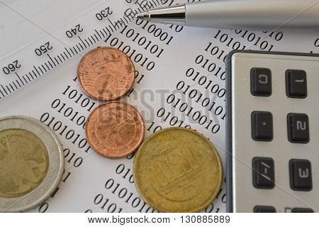 Financial background with money calculator digits and pen.
